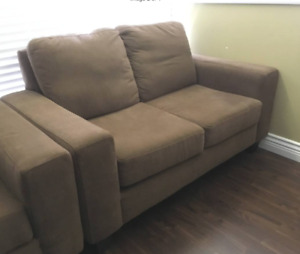 Brown Fabric Sofa Set - Couch, Loveseat, Armchair