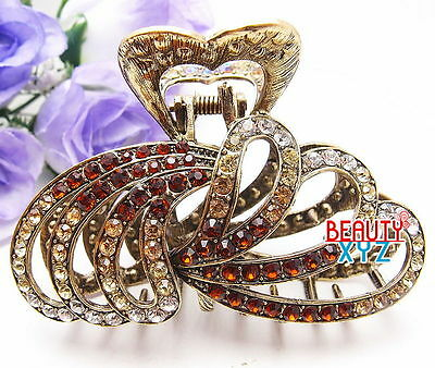 New Fashion Brown Austrian Crystal Metal Water-Drop hair claws clips pin #816