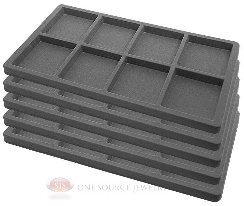 5 Gray Insert Tray Liners W/ 8 Compartments Drawer Organizer Jewelry Displays