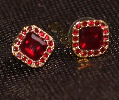 PALACE GEM RUBY RED STUDS KATE SPADE GLITTER GALA EARRINGS PAVE SURROUND