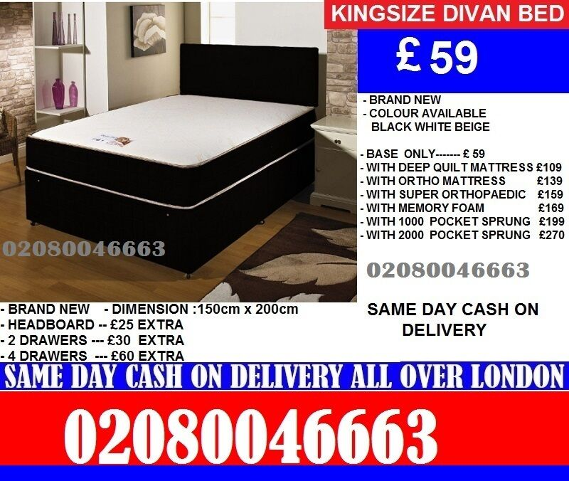 Single, Double, Small Double, King size Divan Bed 10inch Full Orthopaedic Mattressin Waterloo, LondonGumtree - CALL 07 498 279 57 CALL 07 498 279 57 Quik Same or Next Day DeliveryBEFORE YOU BUY VIEWW AT OUR STORESingle Frame only 109 Colour Black Brown only Double Frame only 129 Colour Black Brown White only Small Double Frame only 149 Colour Black Brown only...