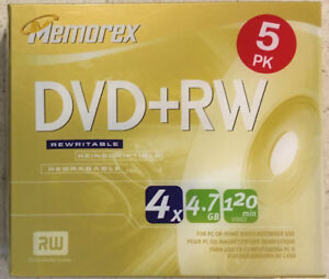 MEMOREX DVD+RW  5 PACK X 2 NEW SEALED NEVER OPEN.