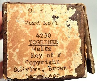 VINTAGE PLAYER PIANO WORD ROLL QRS TOGETHER 4230 WALTZ KEY OF F