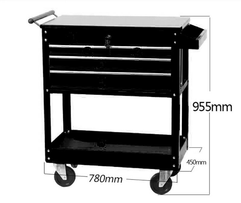 3-drawer  Work Seat Chair Bench Toolbox Rolling Bin Storage