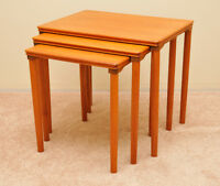 3 Piece Danish Teak Nesting Tables Set
