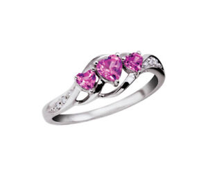 White gold pink sapphire ring - worth $260