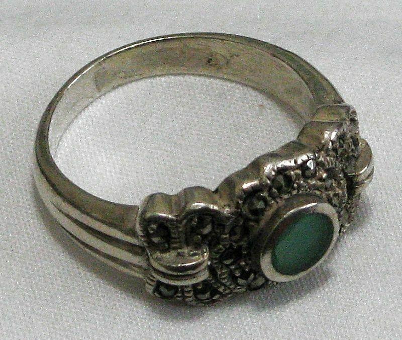 Green Gemstone & Marcasites in Sterling Setting Ring 5.2 grams