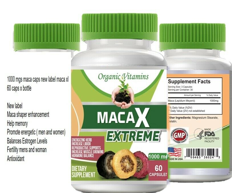 Organic vitamins Maca 1000mg extract 60 caps gold red black blend Energizing Her 3