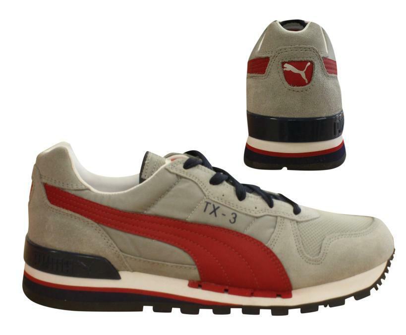 Détails sur Puma TX 3 Homme Lacets Homme Gris Rouge Cuir Textile Baskets 341044 55 B73B afficher le titre d'origine