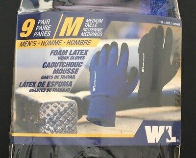 Wells Lamont Foam Latex Work Gloves - Medium - 9 Pairs