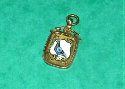 1931 Vintage 9ct two colour gold  & Enamel Pigeon Fob / Medal. Chester.