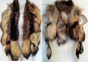 Red Fox Fur Tail Shawl Real fur Stole  Unique Poncho Scarf 11 tails Luxury Raccoon base Lined Vintage Native Indian look