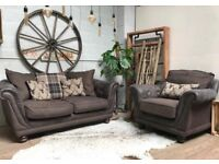 DFS 3 Seater Fabric Sofa + Matching Armchair Grey & Brown