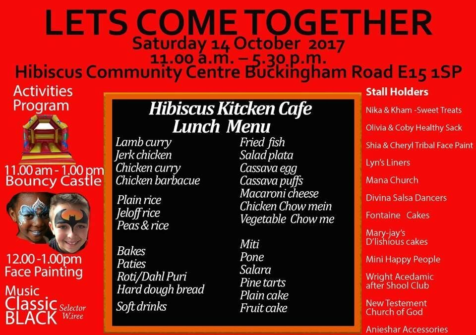 FREE Activities Day for children and Adults at Hibiscus Community Centre E15 on Sat 14 Oct 2017