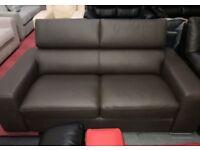 Brown leather 2 seater Dfs Kalamos sofa