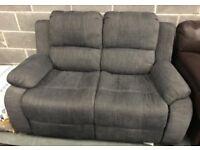 Grey fabric 2 seater manual reclining sofa