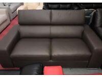 DFS Kalamos Brown Leather 2 seater sofa