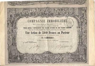 1863 Compagnie Immobilière histor. deko Immobilien Aktie Paris Frankreich France