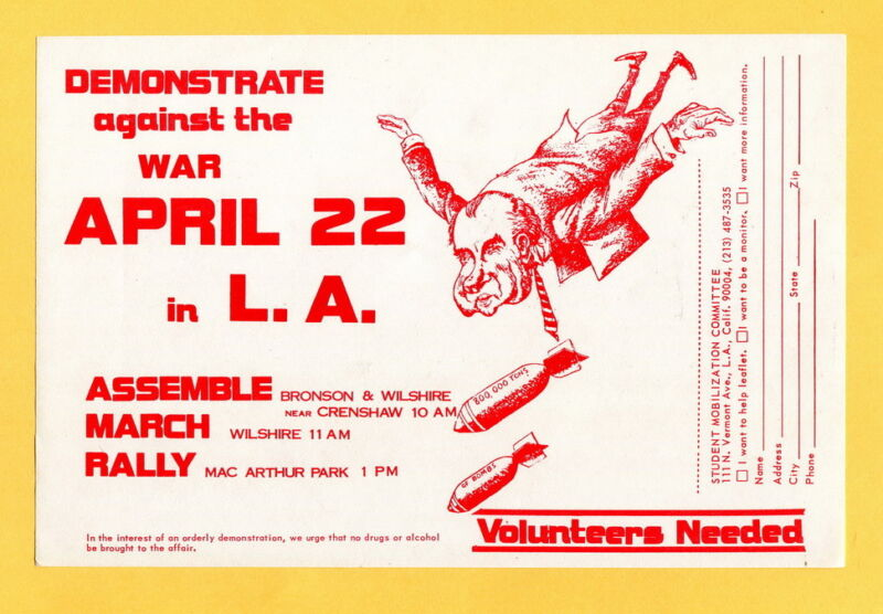 Anti Vietnam War Protest in Los Angeles Nixon Mad Bomber cause flyer / hand-out