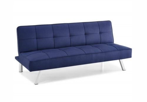 3-Seat Multi-function Upholstery Fabric Sofa Futon Convertible Navy Blue Couch