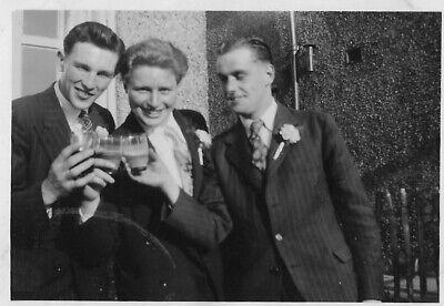 1950s Mens Suits & Sport Coats   50s Suits & Blazers Vintage Wedding Photograph Three Man Suits Flower Lapel Drinks