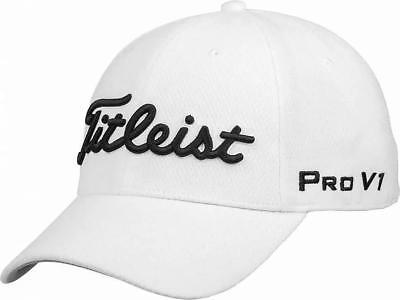 White Elite 1 Fit Hat - Titleist FJ Pro V1 logo White Tour Elite Flex Fit Golf Hat