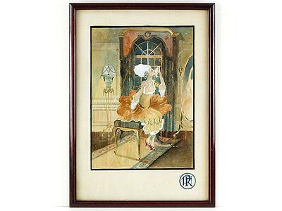 1926 R J Conolly Art Nouvea Watercolour French 18th Century Boudoir