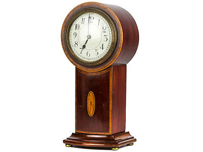 Art Nouveau Mahogany Inlaid Balloon Mantle Clock