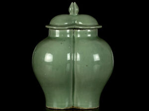 c1400 Ming Dynasty Lonquan Celadon Conjoined Lidded Jar