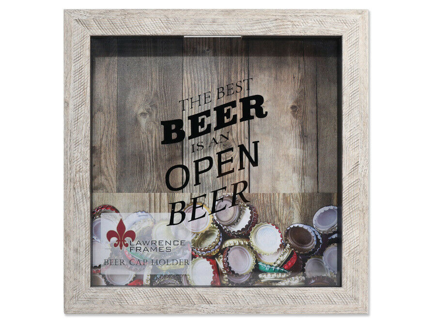 Lawrence 10x10 Beer Cap Holder Shadow Box - Weathered