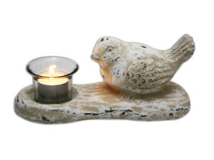 Shabby-Chic-White-Distressed-Bird-Tealight-Candle-Holder-Light-Stand-New