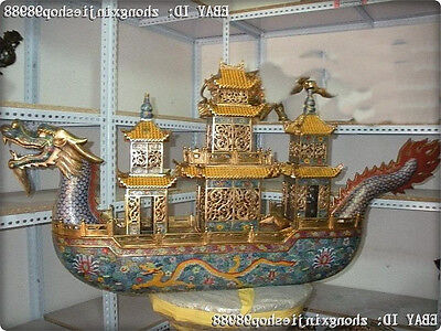 52 Huge China Royal Palace 100% Bronze  Cloisonne Enamel Dragon boat Ship