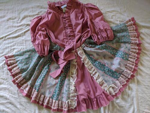 Square Dance Dress OUTFIT Skirt Blouse Pink Green Floral Twirl Pitchfork Sz M/L