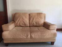 2 Seater Tan REAL LEATHER Sofa