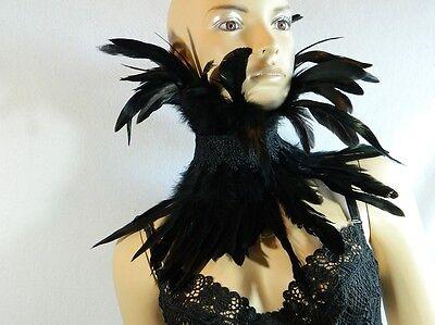 Federkragen Scarfette schwarz Gothic Steampunk DragQueen Krähe Kostüm Halsband