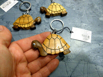Schildkröte (Landschildkröte Holzarbeit Schlüsselanhänger hübsch helles und dunkles Holz NEU)