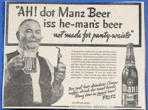 Vintage 1937 MANZ Beer Bottle Newspaper Print Ad