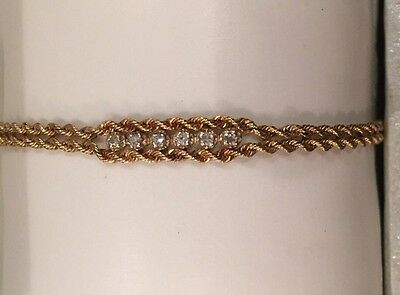 14K Solid Yellow Gold Chain Bracelet With Diamonds 3.6 grams  7.25 inches