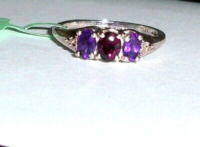 Red Garnet Oval & Purple Amethyst Oval 3-stone Ring, Sterling, Size 7, -