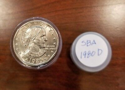 1980-D - Roll of 20 Susan B Anthony (SBA) $1 Dollar Coins in Tube Anthony Dollar Roll 20 Coins
