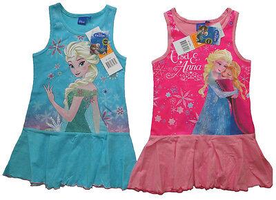 Disney Frozen Sommerkleid Eiskönigin Mädchen Kleid Anna Elsa Shirt Trägerkleid (Disney Frozen Elsa Kleid)