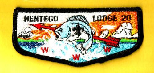 NENTEGO Lodge 20-S3 OA, blk bdr + fdl Del-Mar-Va Council Boy Scout flap DE VA MD