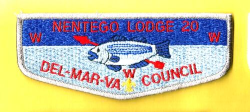 NENTEGO Lodge 20-S10 OA wht bdr yel fdl Del-Mar-Va Cncil Boy Scout flap DE VA MD