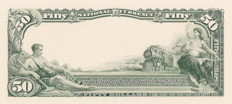 Proof Print by the BEP - Back of 1902 $50 National Currency Note