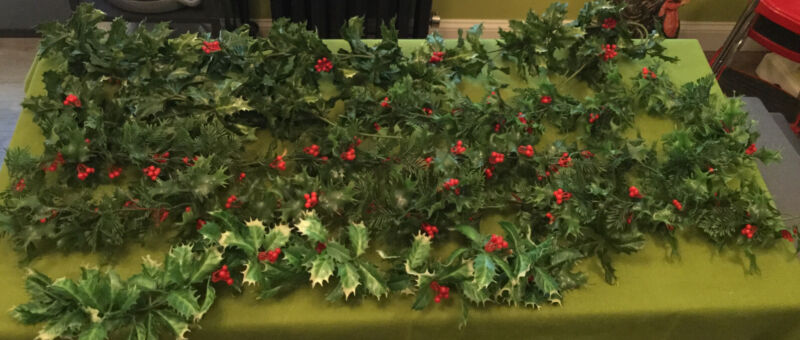 Vintage Plastic Holly Berry Pine Garland Misc Lot 20+ Feet MidCentury