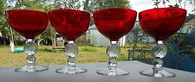 Morgantown Golf Ball Ruby Red Champagne Glasses Tall Sherbet Glasses - Set of 4