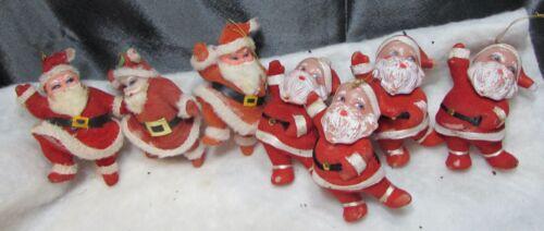 7 Vintage Flocked Santa Claus -Ornaments Christmas-Hong Kong
