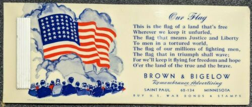 Original World War 2 Remembrance Advertising Celluloid Ink Blotter Buy War Bonds