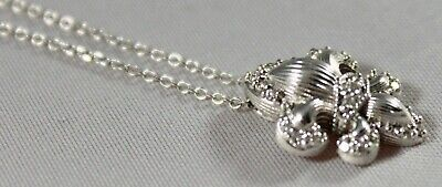 DIAMOND FLEUR de LYS SLIDE PENDANT on CHAIN NECKLACE 14K WHITE GOLD (Diamond Pendant Chain Slide)