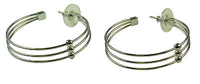 90'S FASHION INSPIRED LADIES SLIM  HOOPS, SILVER TONE BALL DESIGN (ZX2)
